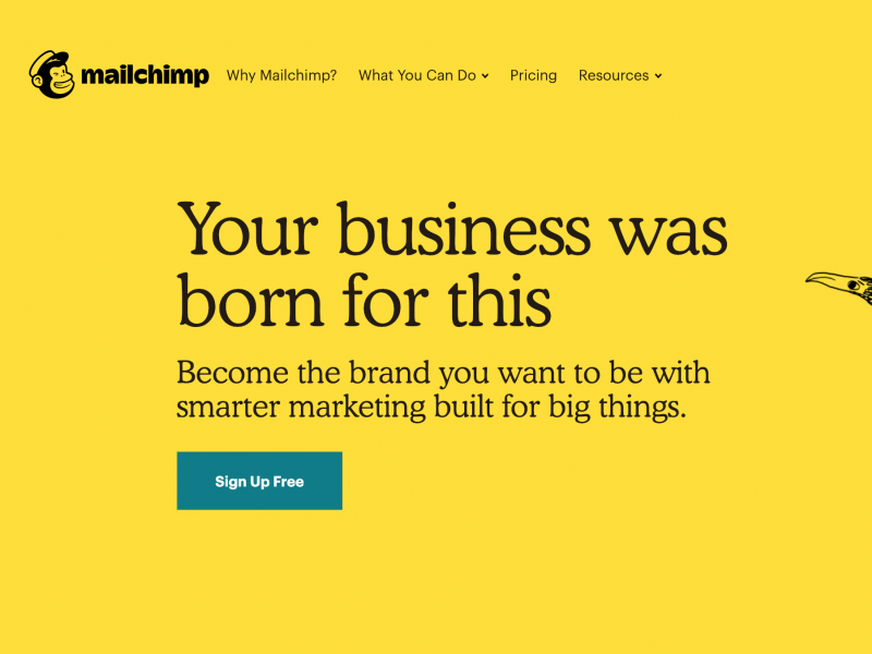 Mailchimp's homepage with a big blue